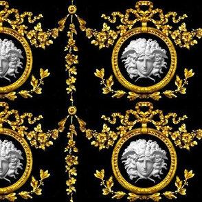 2 Versace inspired marble medusa bows ribbons baroque rococo black gold  white flowers floral Victorian festoon medallions drops round circle frame  wreaths laurel leaves leaf swags ornate acanthus gorgons Greek Greece mythology