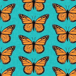 Monarch butterflies - V2 - teal  - LAD20