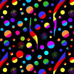 Disco Clestial Bodies! Rainbow colours on black