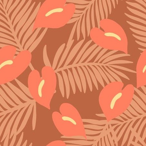 Anthuriums and fronds on brown