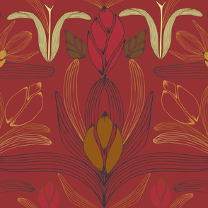 Art Nouveau Inspired Floral Red - large scale