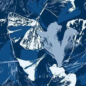 Stamped Gingko Leaves in Classic Blue