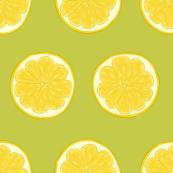 Lemon Slice on Lime Green, Large