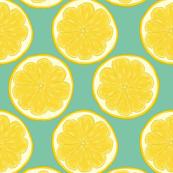 Lemon Slice on Minty Aqua - Large