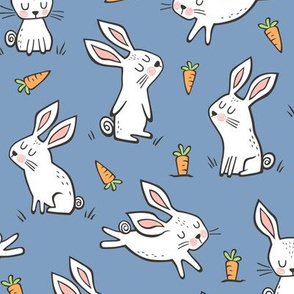 Bunnies Rabbits & Carrots On Dark Navy Blue