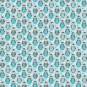 Penguins with Sweater Geometric  and Triangles in Aqua Blue Tiny Small 0,75 inch