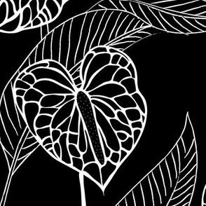 LARGE art nouveau anthuriums - black and white