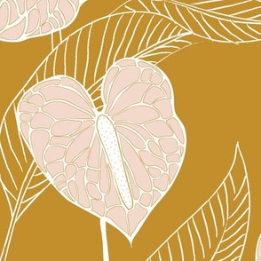 LARGE art nouveau anthuriums - mustard and pale peach