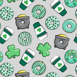 (small scale) Saint Patricks Day Donuts & Coffee  - mint on light grey C20BS