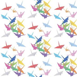 rainbow paper cranes