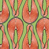 Salmon Cutlet on Green, XL