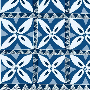 Tropical Samoa flowers-  Classic Blue Shades 42x24
