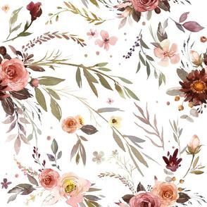 "18"" Siennas Bouquet- rust, russet, pink wildflowers"