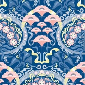 Art Nouveau Poppies in Classic Blue and Pink
