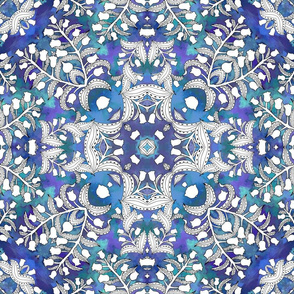 Lily of the Valley, design A in blue