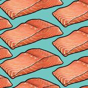 Salmon Fillet on Teal, XL