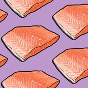 Fish Seafood Fillet on Purple, XL