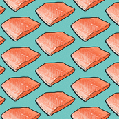 Fish Seafood Fillet on Teal, Large