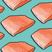 Fish Seafood Fillet on Teal, XL