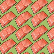 Salmon Sushi Seafood on Green, Large