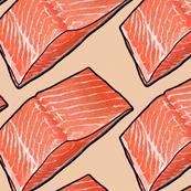 Salmon Sushi Seafood on Peach, Large