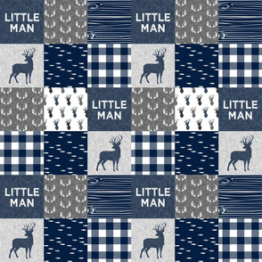 "(3"" small scale) little man - navy and grey (buck) quilt woodland C20BS"