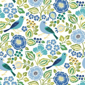 Blue Bird Floral on White Small