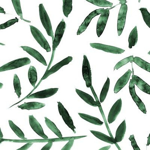 Deep emerald watercolor leaves ★ painted branches for modern home decor, bedding, nursery