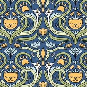Cat Nouveau Blue