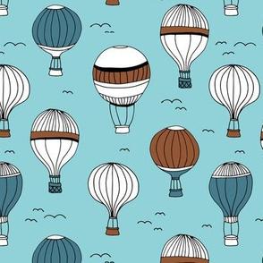 Little hot air balloon breezy sky dreams nursery blue rust copper