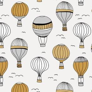 Little hot air balloon breezy sky dreams nursery gender neutral ochre grey