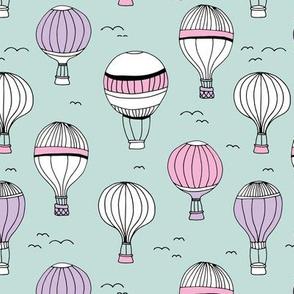 Little hot air balloon breezy sky dreams nursery mint pink lilac