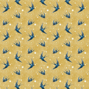 2 inch swallow bird in stars on gold mustard