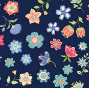 Flowers For You-floral-navy