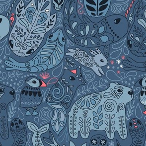 Arctic ornament animals pattern on blue. Polar bear, puffin, owl, fox, rabbit, whale, narwhal.