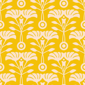 Art Nouveau Yellow Floral from UnBlink Studio by Jackie Tahara-LARGE Scale
