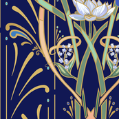 Art Nouveau Dragonflies Wallpaper | Navy