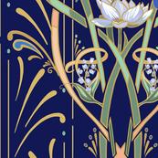Art Nouveau Dragonflies Wallpaper   Navy