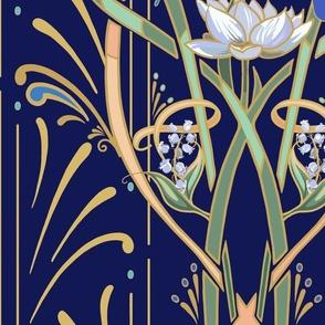 Art Nouveau Dragonflies Wallpaper | Navy