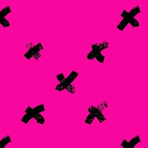 Hot Pink with Black crosses