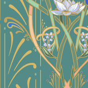 Art Nouveau Dragonflies | Med Cool Green