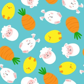 Easter eggs - Cute Eggs - Lamb, Carrot, Bunny, Chick - Blue - LAD20
