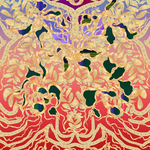 Red Pink Turquoise Purple Gold Art Nouveau
