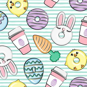 Easter Donuts and Coffee - aqua stripes - spring - bunny donuts - LAD20