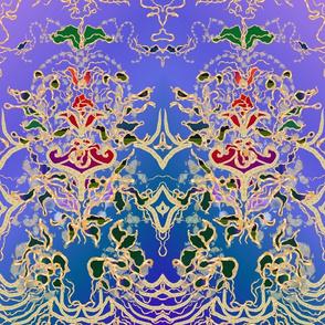 Gold Purple Red Turquoise Art Nouveau