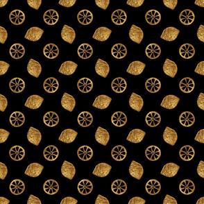 Gold lemons on black