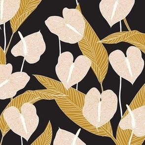 SMALL art nouveau anthuriums - black mustard and pale peach