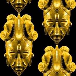 2 Africa African wooden masks tribal folk art traditional cultural Ligbi tribe Ghana POC person of color beautiful black yellow gold stylized abstract