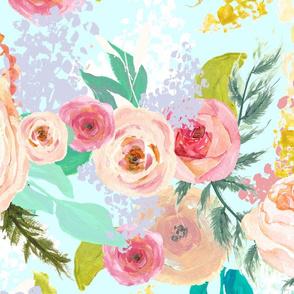 Pastel Garden Spring Floral // Light Mint (Extra Large)