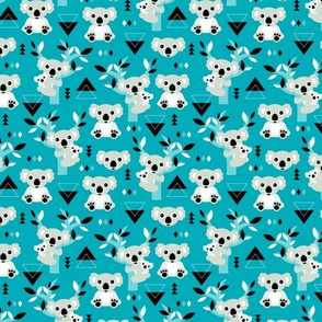 Koala winter blue geometric Australian animal kids fabric SMALL